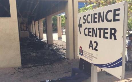 The science centre and the administration block at the North West University have been destroyed by a fire during a violent demonstration at the institution on Wednesday night. Picture: Vumani Mkhize/EWN.