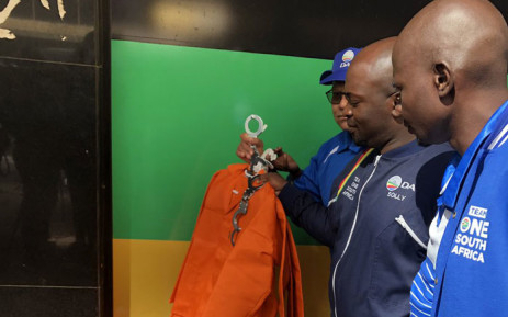 The DA's Gauteng candidate Solly Msimanga and other members marched to Luthuli House where they left orange overalls and handcuffs on 17 April 2019. The party has raised concerns about some individuals on the ANC's list for the National Assembly and provincial legislatures ahead of the 2019 general elections. Picture: @SollyMsimanga/Twitter