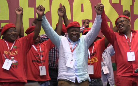 EFF leader Julius Malema celebrates after the a successful elective conference in Bloemfontein. Picture:Vumani Mkhize/EWN.