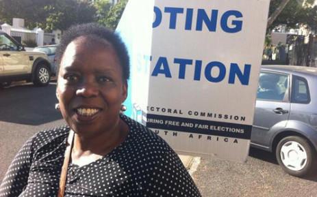 The Vote No campaign's Nozizwe Madlala-Routledge outside a voting station in Cape Town. Picture: Graeme Raubenheimer/EWN.