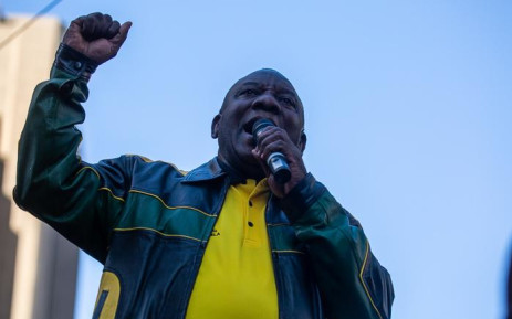 President Cyril Ramaphosa speaks outside Luthuli House where the ANC held a post-election celebration on 12 May 2019. Picture: Kayleen Morgan/EWN