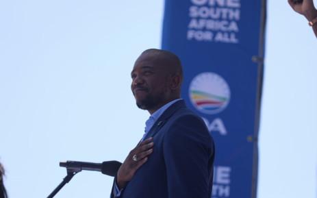 Mmusi Maimane at the DA election manifesto at Rand Stadium. (Kayleen Morgan)