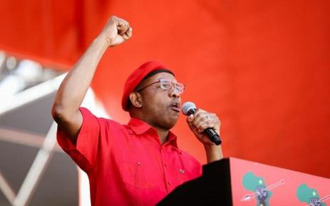 EFF member Dali Mpofu at the Tshela Thupa rally at Orlando Stadium. Picture: Kayleen Morgan/EWN