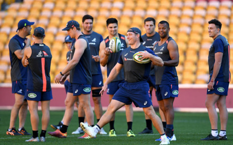 Australia players during a training session. Picture: @qantaswallabies/Twitter