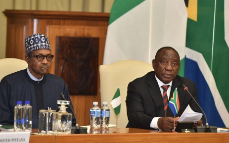 President Cyril Ramaphosa (R) and Nigerian counterpart Muhammadu Buhari at the Union Buildings on Thursday, 3 October 2019. Picture: @PresidencyZA/Twitter