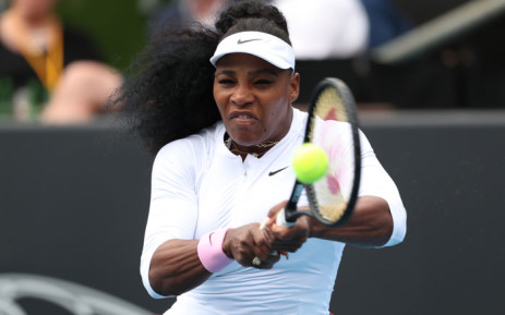 Serena Williams of the US hits a return against Camila Giorgi of Italy during their women's singles first-round match during the Auckland Classic tennis tournament in Auckland on 7 January 2020. Picture: AFP
