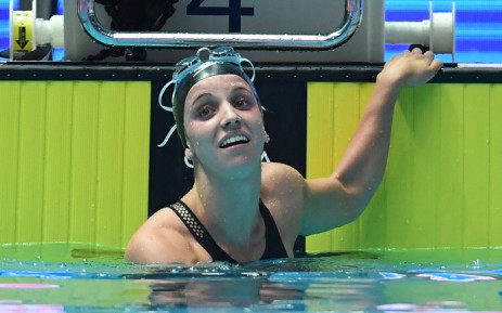 USA's Regan Smith reacts after winning and making a world record in a semi-final of the women's 200m backstroke event during the swimming competition at the 2019 World Championships at Nambu University Municipal Aquatics Center in Gwangju, South Korea, on 26 July 2019. Picture: AFP