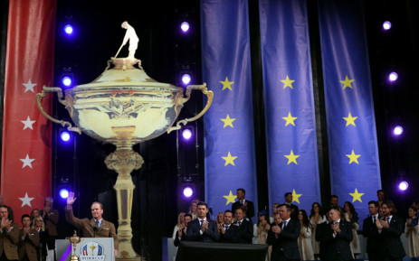 Captain Steve Stricker of team United States speaks during the opening ceremony for the 43rd Ryder Cup at Whistling Straits on 23 September 2021 in Kohler, Wisconsin. Picture: Warren Little/AFP