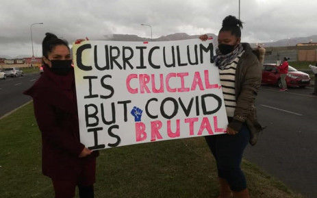 Protesters call for the closure of schools as COVID-19 infection increase. The protest took place in Retreat on 25 June 2020. Picture: Supplied