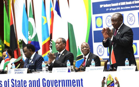 President Cyril Ramaphosa (R) at the 39th SADC Summit in Tanzania. Picture: @CyrilRamaphosa/Twitter