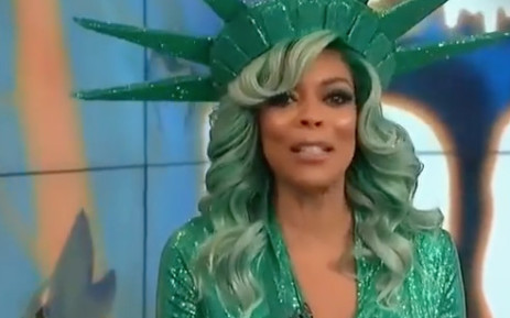 A screenshot of Wendy Williams on her show, seconds before she fainted.