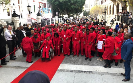 Members of the EFF arrive at Parliament ahead of Sona on 20 June 2019. Picture: Bertram Malgas/EWN