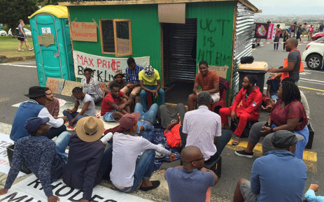 FILE: A group of UCT students erected a shack on campus during a protest over accommodation on 15 February 2016. Picture: Natalie Malgas/EWN.