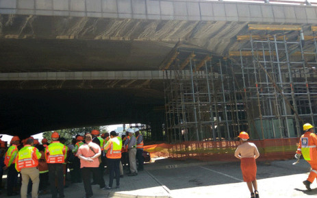 Officials inspect the Selby bridge as part of the M2 full closure. Picture:@MyJRA/Twitter.