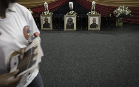 Pictures of the three fire fighters three firefighters who died in last week's blaze at the Lisbon Building in Johannesburg CBD. Picture: Sethembiso Zulu/EWN