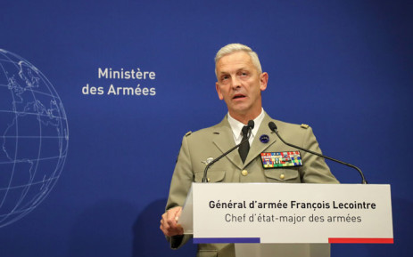 French army chief of staff general Francois Lecointre gives a press conference in Paris on 10 May 2019, as French forces freed two French hostages as well as an American and a South Korean in northern Burkina Faso in a military raid that cost the lives of the two soldiers, the French presidency said. Picture: AFP