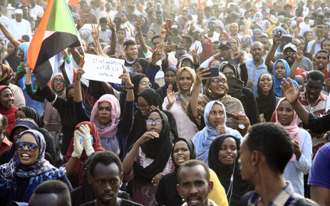 Sudanese protesters take part in a demonstration in the capital Khartoum's northern district of Bahri, to mourn dozens of demonstrators killed last month in a brutal raid on a Khartoum sit-in, on 13 July 2019. Picture: AFP
