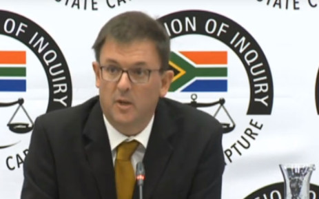 A screengrab of former Eskom fuel sourcing manager Johann Bester giving testimony at the Zondo Commission of Inquiry into state capture on 12 March 2019.
