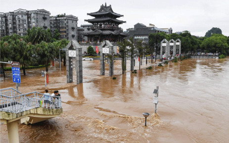 This aerial photo taken on June 9, 2019 shows streets submerged by floodwater in Guilin in China's southern Guangxi region after heavy rainstorm hit the area. Picture: AFP.