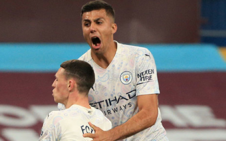 Manchester City players celebrate a goal against Aston Villa in their English Premier League match on 21 April 2021. Picture: @ManCity/Twitter