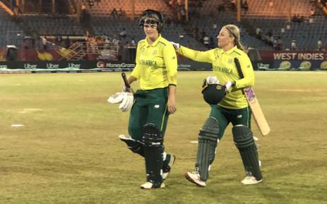 Mignon du Preez and Dane van Niekerk celebrate a win in their ICC Women World T20 match against Sri Lanka on 13 November 2018. Picture: @OfficialCSA/Twitter