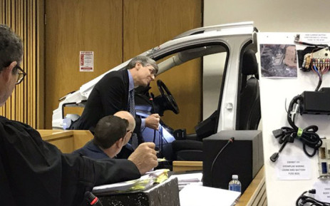 A stripped-down replica of a Ford Kuga is examined at the Western Cape High Court on 20 May 2019 for the inquest into Reshall Jimmy's death. Picture: Kevin Brandt/EWN