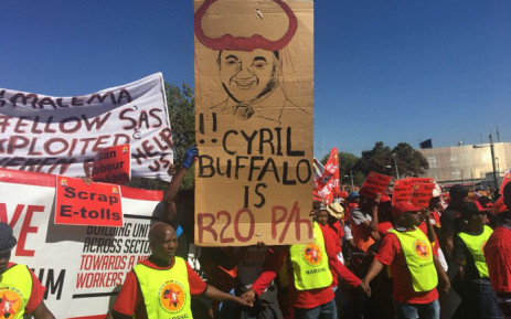 Saftu members protest against the national minimum wage on 25 April 2018. Picture: EWN