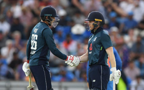 England's Joe Root and Eoin Morgan congratulate each other after reaching a 100-run partnership during their ODI match against India at Headingley on 17 July 2018. Picture: @englandcricket/Twitter