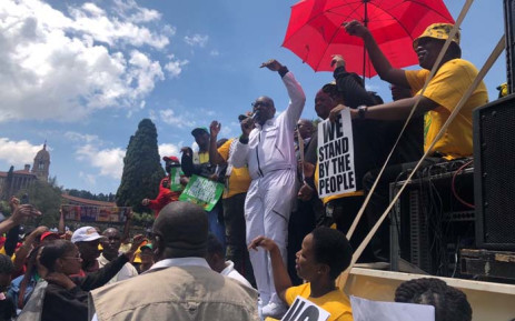 Gauteng Premier David Makhura addresses protestors at the Union Buildings in Pretoria on Friday 2 November 2018 during a march by the Gauteng ANC and civil society organisations demanding that e-tolls be scrapped in the province. Picture: Mia Lindeque/EWN.