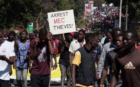 Thousands of opposition parties supporters participate in a protest march in the capital Lilongwe on 20 June 2019, to force Malawi Electoral Commission chairperson Jane Ansah to resign and to protest the alleged use of correction fluid in the marked ballots. Picture: AFP.