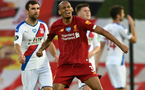 Liverpool midfielder Fabinho celebrates scoring his team's third goal during the English Premier League football match between Liverpool and Crystal Palace at Anfield in Liverpool, northwest England on 24 June 2020. Picture: AFP