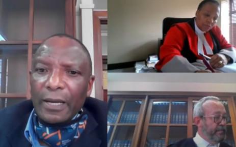 Dr Richard Lebethe (R) testifying at the Life Esidimeni Inquest on 9 September 2021. Picture: Judiciary RSA/YouTube screengrab.