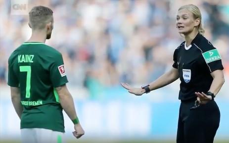 A screengrab of Bibiana Steinhaus during a soccer match. Picture: CNN.