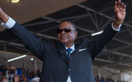 Malawi's President Arthur Peter Mutharika waves to supporters during the swearing-in ceremony at Kamuzu Stadium in Blantyre on 28 May 2019. Picture: AFP