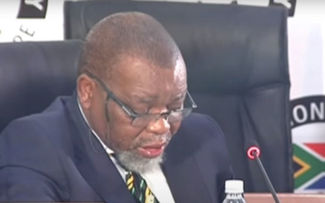 A screengrab of  African National Congress (ANC) chairperson Gwede Mantashe appearing before the state capture inquiry on 14 April 2021. Picture: SABC/YouTube