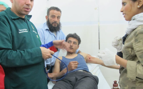 A man being treated in a Syrian hospital after being hit by a sharpnel. Picture: Rahima Essop/EWN