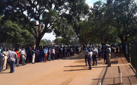 Makomborero Haruzivishe's supporters gathered outside the Harare Magistrates Court ahead of the sentencing on 6 March 2021. Picture: Twitter/@Laque_davis.
