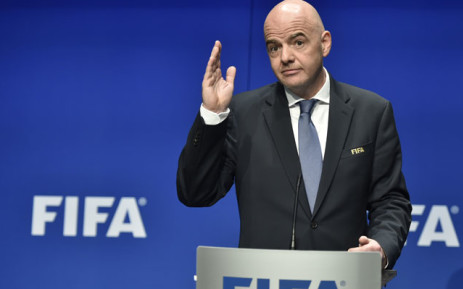 International Federation of Association Football (Fifa) President Gianni Infantino gestures while speaking during a press briefing closing a meeting of the Fifa executive council on 10 January 2017 at Fifa headquarters in Zurich. Picture: AFP.