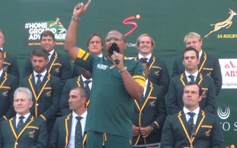 Sports Minister Fikile Mbalula has urged the Springboks to come home with the William Webb Ellis Trophy. Picture: Vumani Mkhize/EWN.