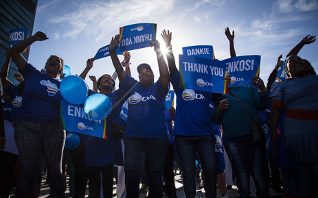 DA supporters have gathered outside Cape Town Civic Centre to celebrate the party's local government election victory in the Mother City. Picture: Aletta Harrison/EWN.