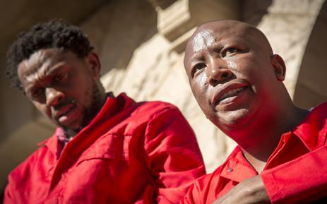 EFF leader Julius Malema (R) and party spokesman Mbuyiseni Ndlozi (L). Picture: EWN