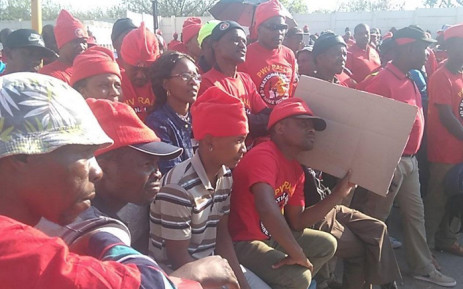 A screengrab of NUM members during a protest against Sibanye Gold's planned retrenchments at the company's Cooke 4. Picture: Twitter/@NUM_Media.