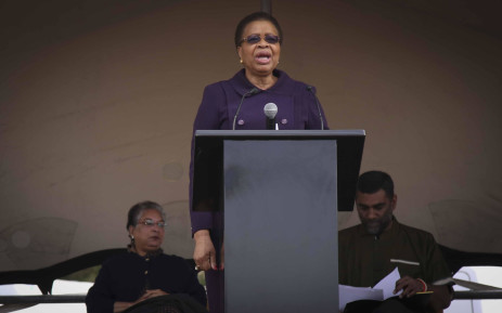 Graca Machel addresses a crowd gathered at the Grand Parade in Cape Town on Mandela Day, 18 July, 2017. Picture: Cindy Archillies/EWN