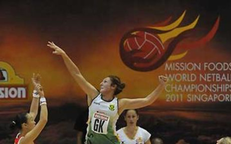 SPAR Proteas Captain Amanda Mynhardt in one of her giant leaps for the ball in defence on 05 July 2011. Picture: Supplied