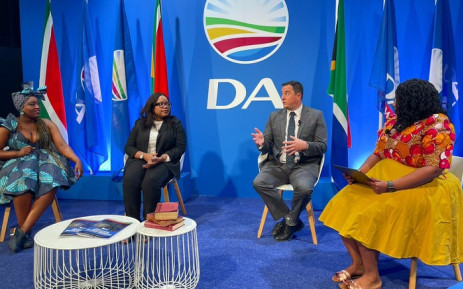 Democratic Alliance leader John Steenhuisen, head of policy Gwen Ngwenya and programme director Karabo Khakhau and party spokesperson Siviwe Gwarube at a briefing on 23 September 2021. Picture: Our_DA/Twitter.