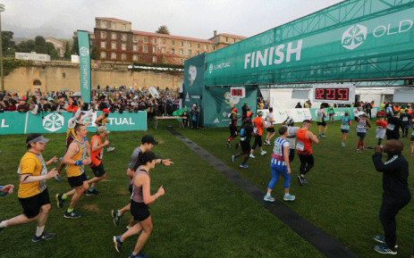 Some runners at the Two Oceans Marathon's finish line. Picture: @2OceansMarathon/Twitter.