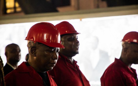 EFF leaders Julius Malema and Floyd Shivambu outside Parliament after staging a walkout from the State of the Nation Address 2020. Picture: Kayleen Morgan/EWN
