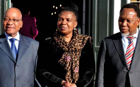President Jacob Zuma, Communications Minister Dina Pule and Deputy President Kgalema Motlanthe. Picture: Sapa.