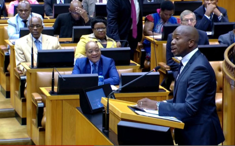 FILE: A screen grab of President Jacob Zuma watching on as DA leader in Parliament Mmusi Maimane addresses the House during the State of the Nation Address debate in Cape Town on 17 February 2015. Picture: YouTube.