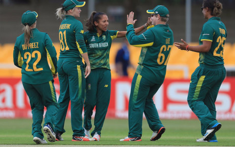The Proteas women celebrate a wicket. Picture: @OfficialCSA/Twitter